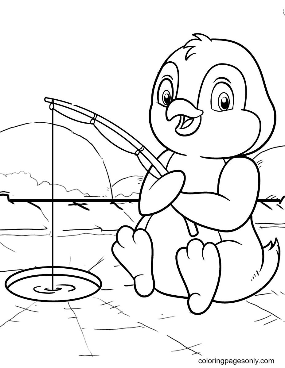 Penguin Happy Fishing Coloring Page