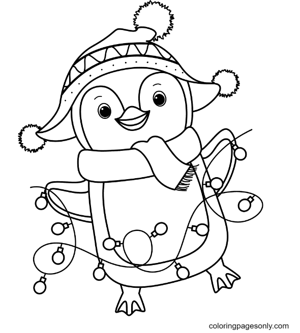 Penguin Holding Little Lights Coloring Page