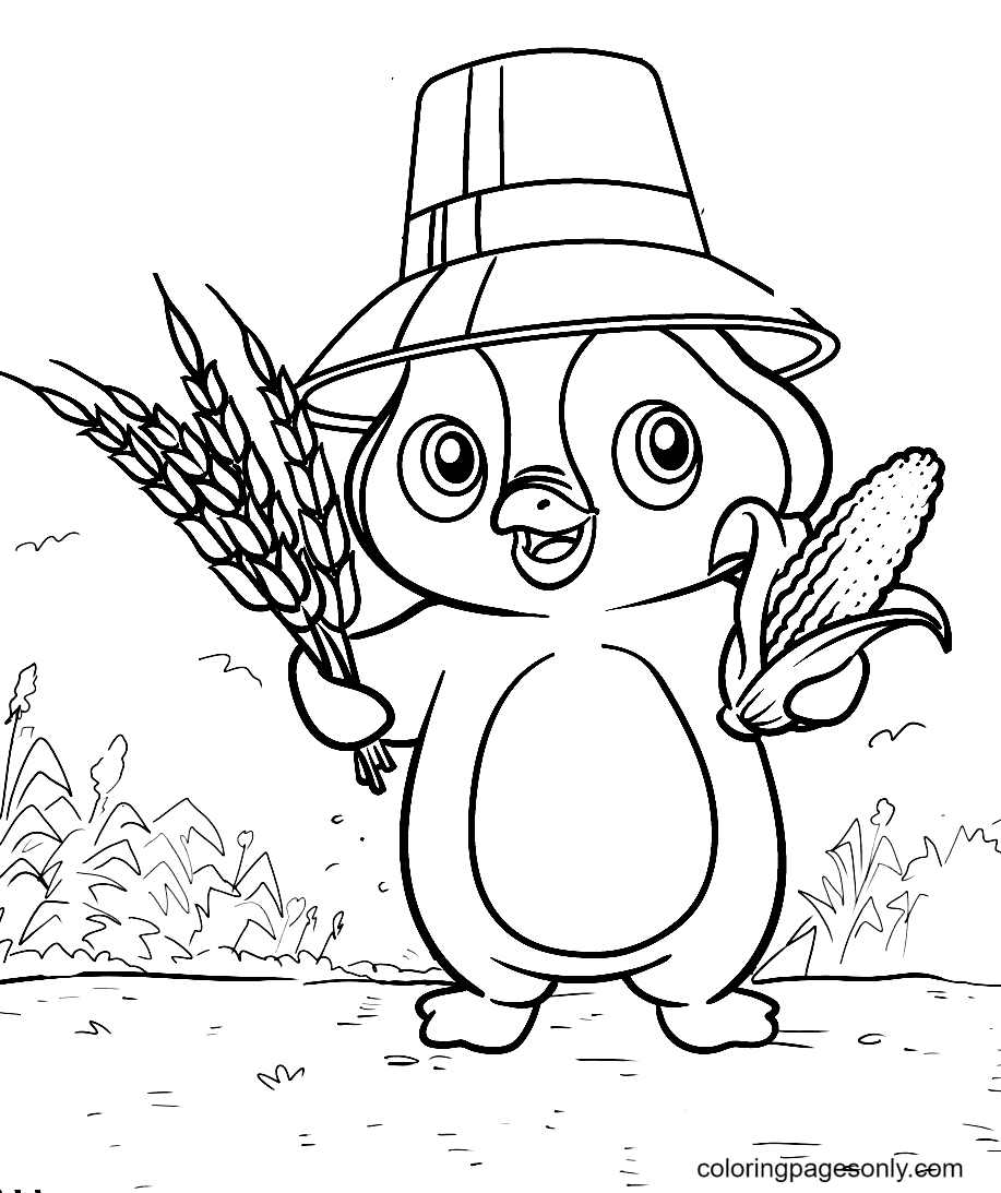 Penguin Picking Corn in the Field Coloring Page