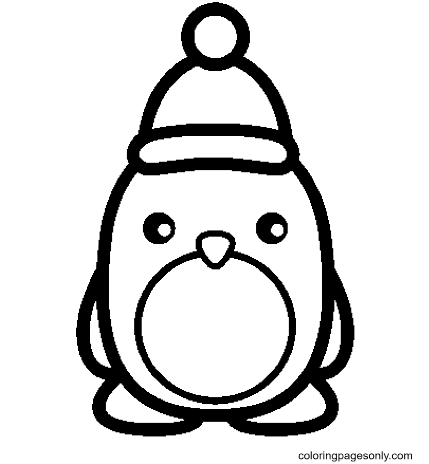 Penguin Wearing a Hat Coloring Page