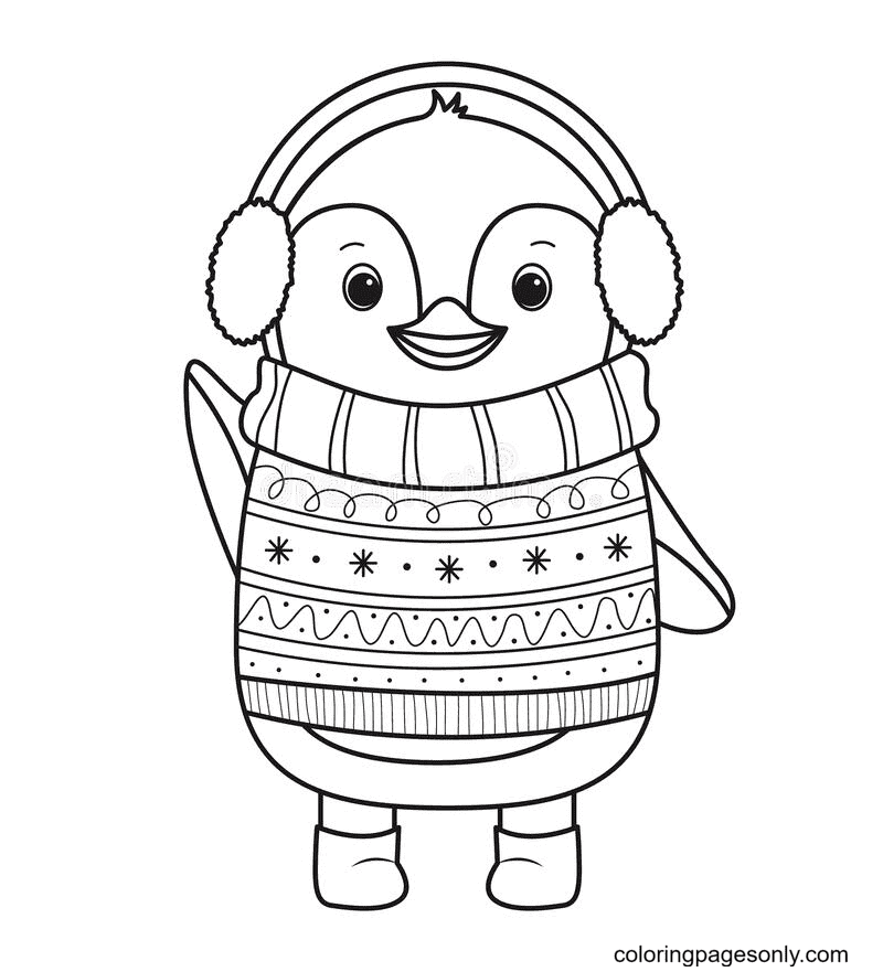 Penguin Wearing a Sweater Coloring Page