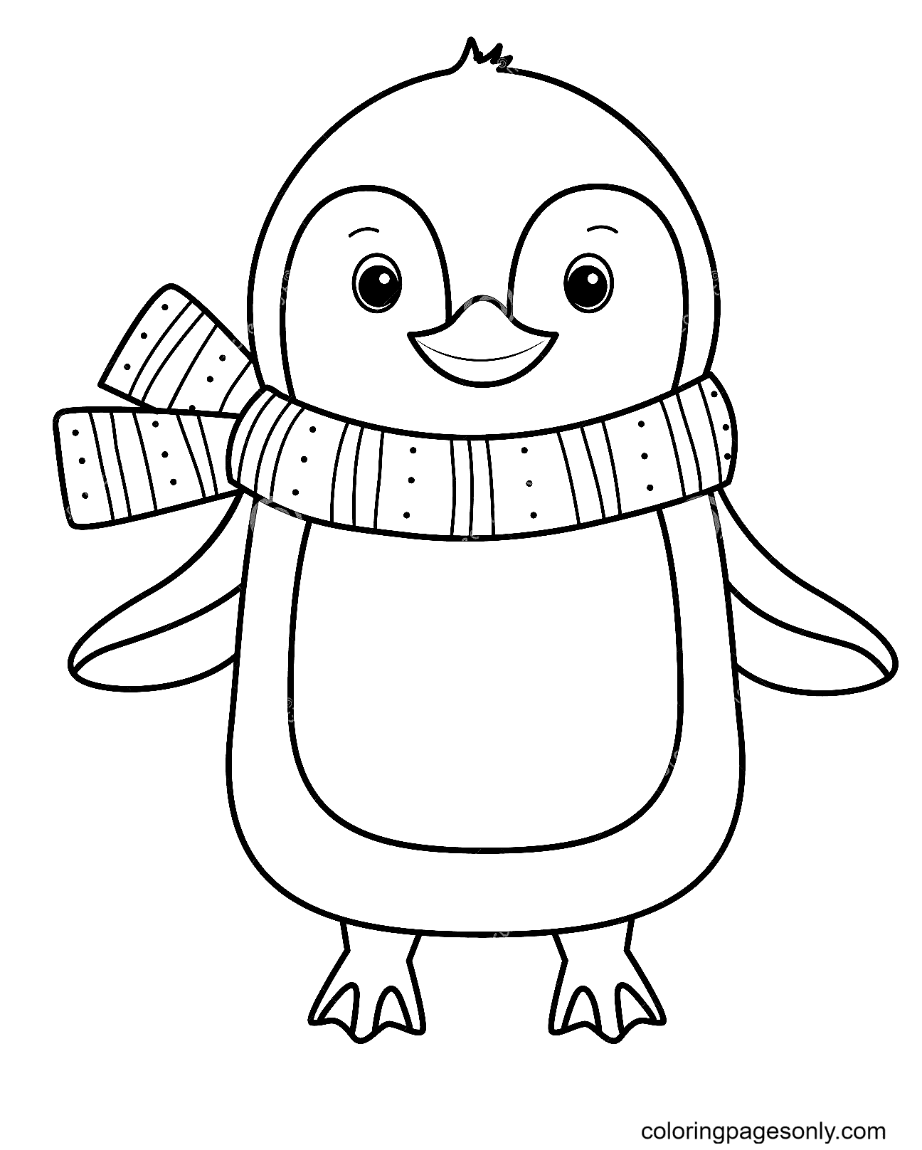 Penguin Wearing a Warm Scarf Coloring Page