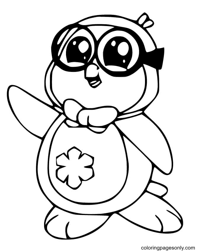Penguin Wears Glasses Coloring Page