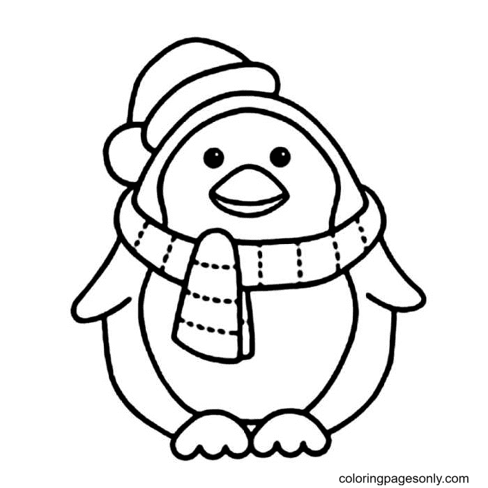 Penguin Wears a Scarf and Santa Hat Coloring Page