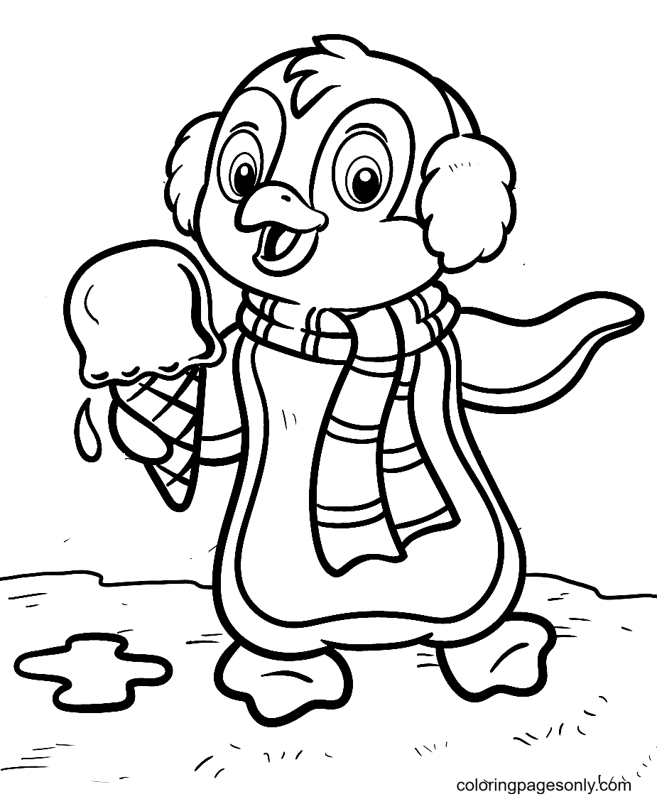 Penguin With Ice Cream Coloring Page