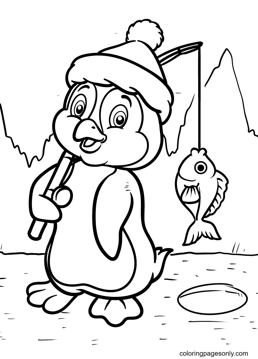 Penguin With a Fish Just Caught Coloring Page