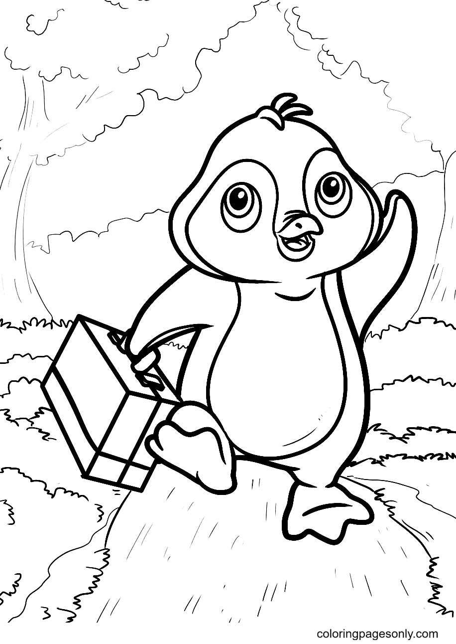 Penguins Walking Through a Beautiful Forest Path Coloring Page