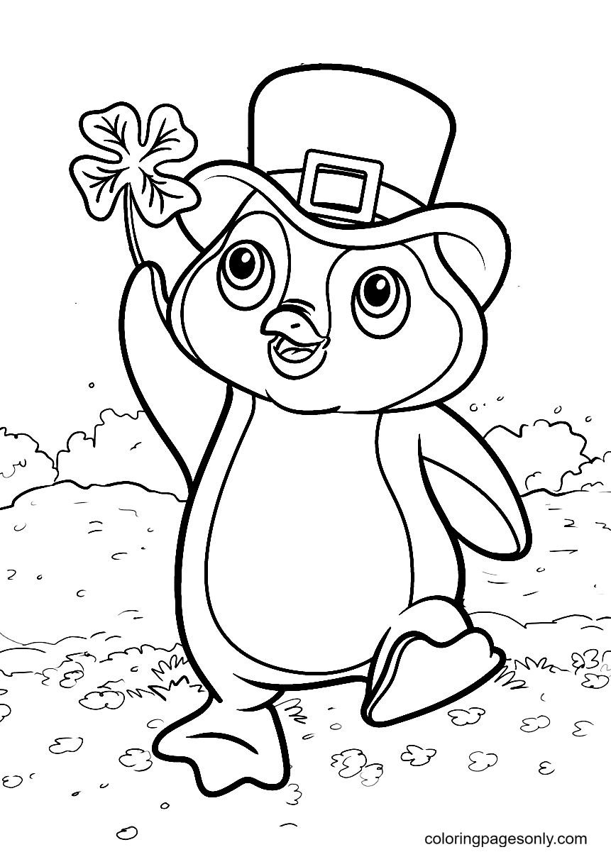 Penguins are Playing in a Field of Clover Coloring Page
