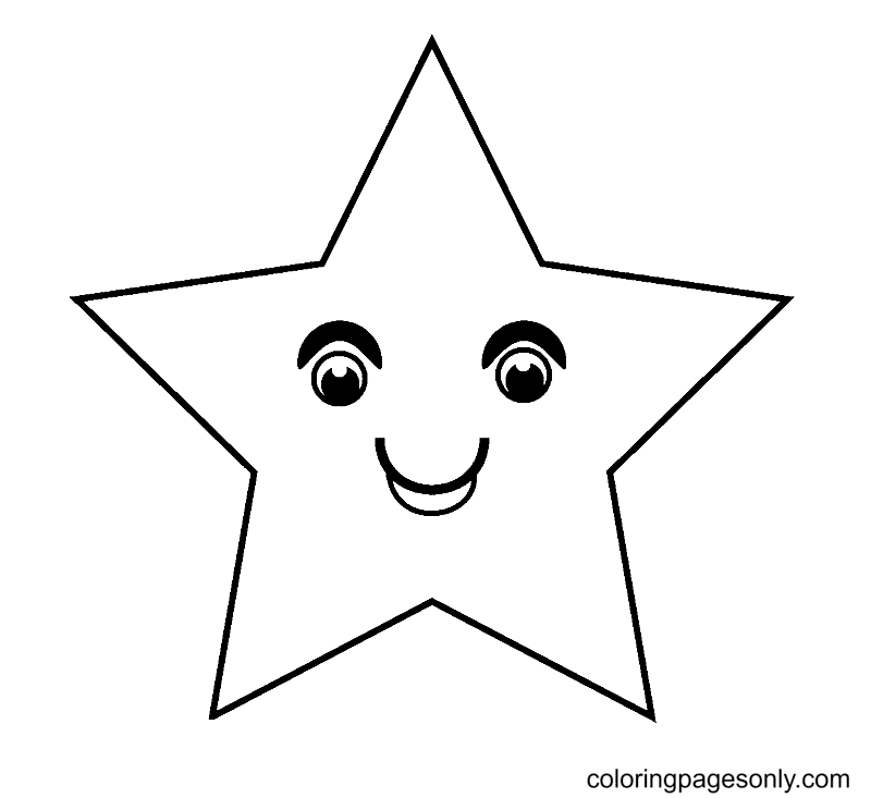 Pentagram Star is Smiling Coloring Page