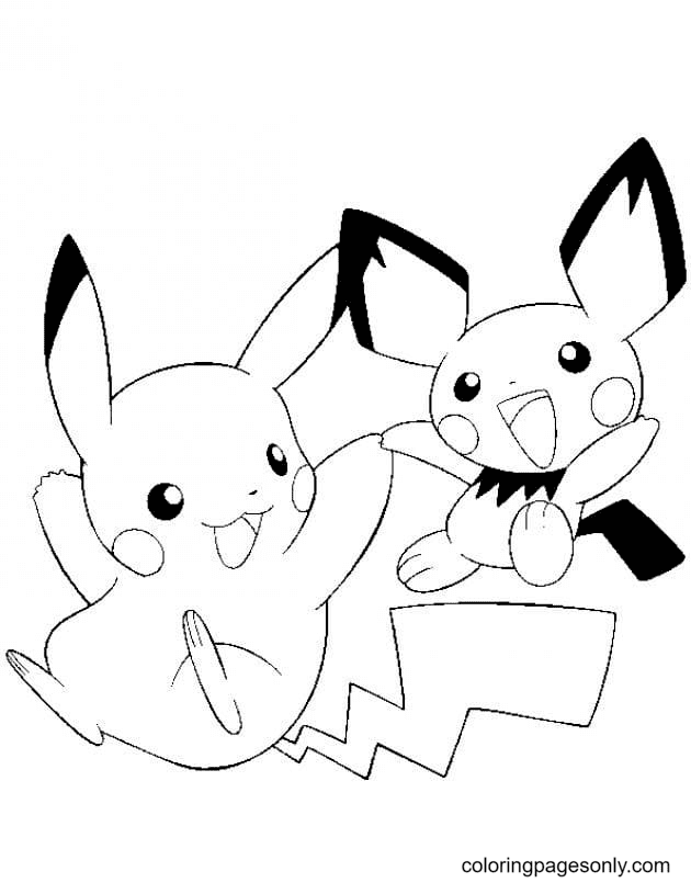 Pichu and Pikachu Coloring Page
