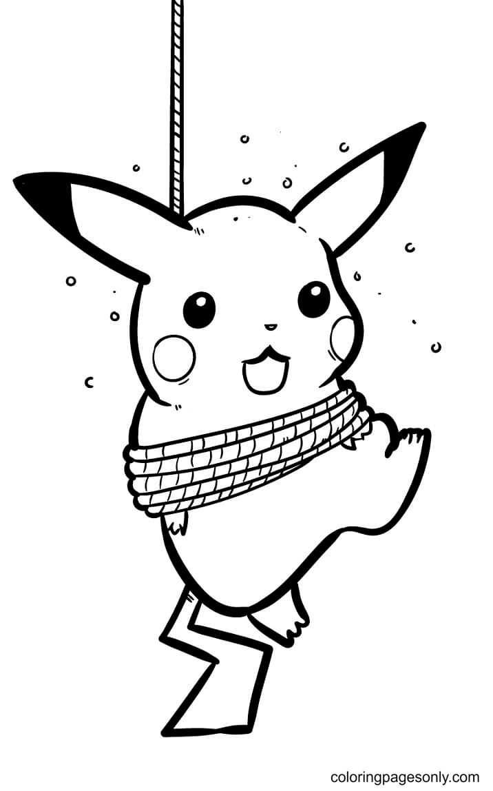 Pikachu Being Hoisted Coloring Page