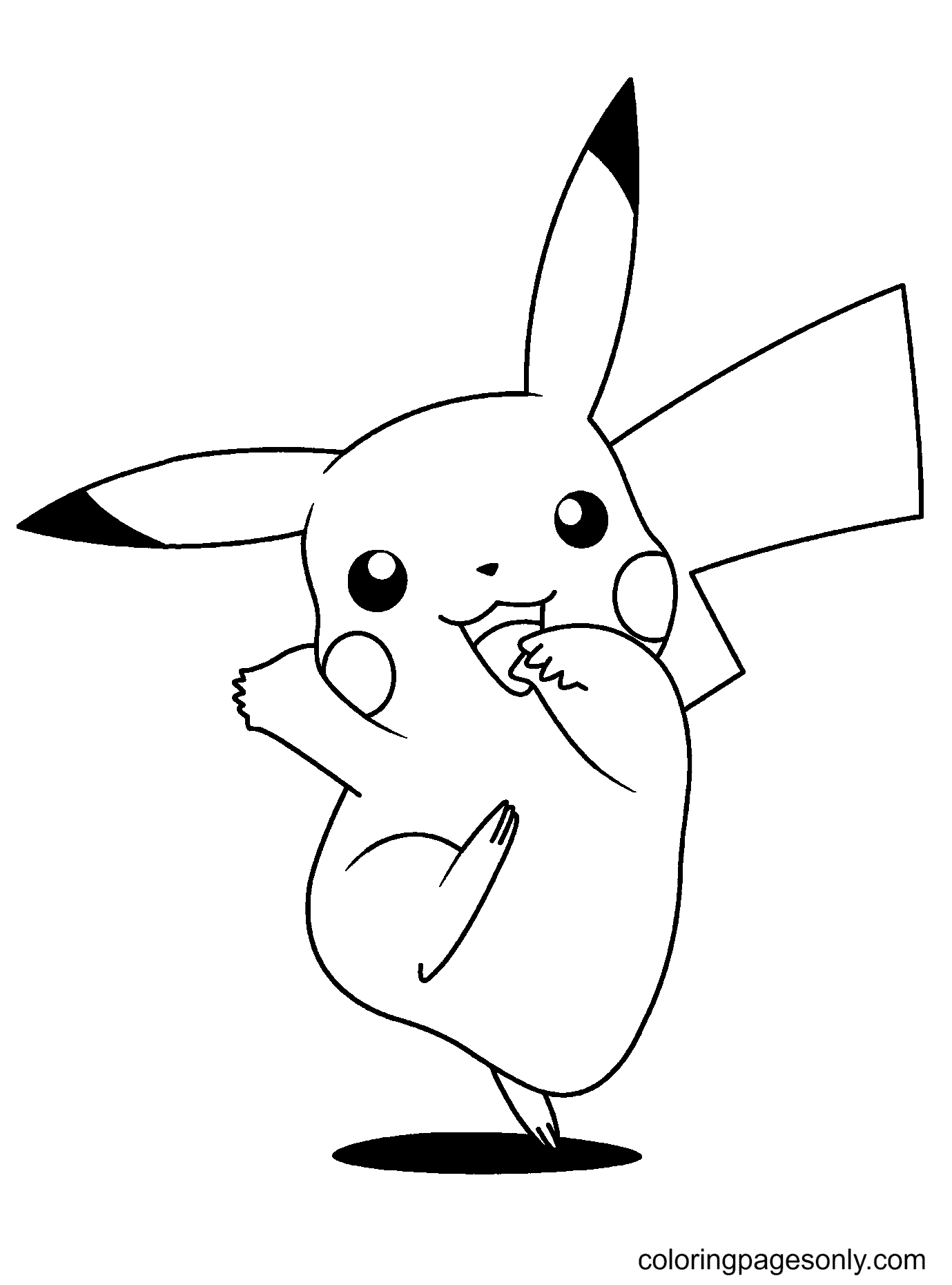 Pikachu Dancing Coloring Page