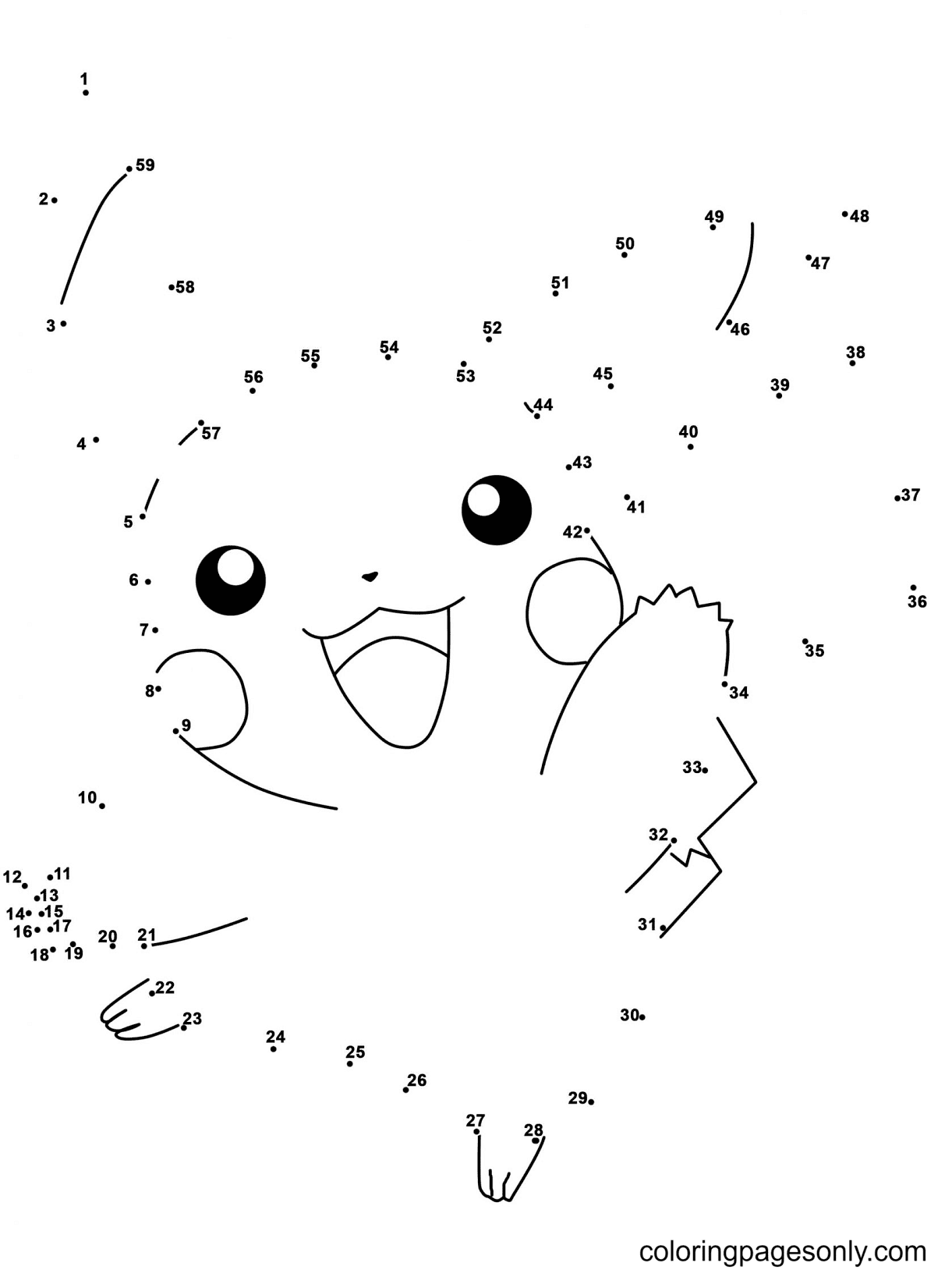 Pikachu Dot To Dots Coloring Page