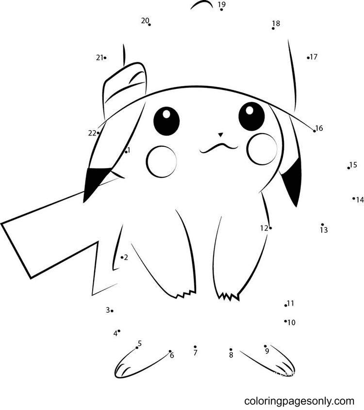 Pikachu Dot to Dot Coloring Page