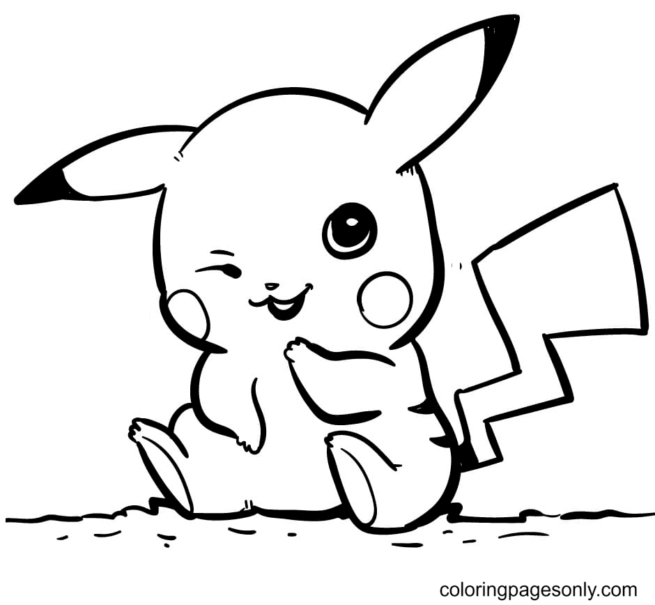 Pikachu Laughing Coloring Page