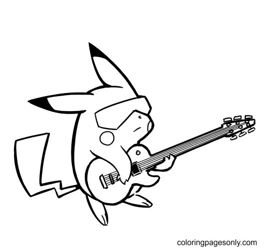 Pikachu Playing Guitar Coloring Page