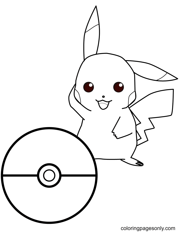 Pikachu Pokemon Go Coloring Page