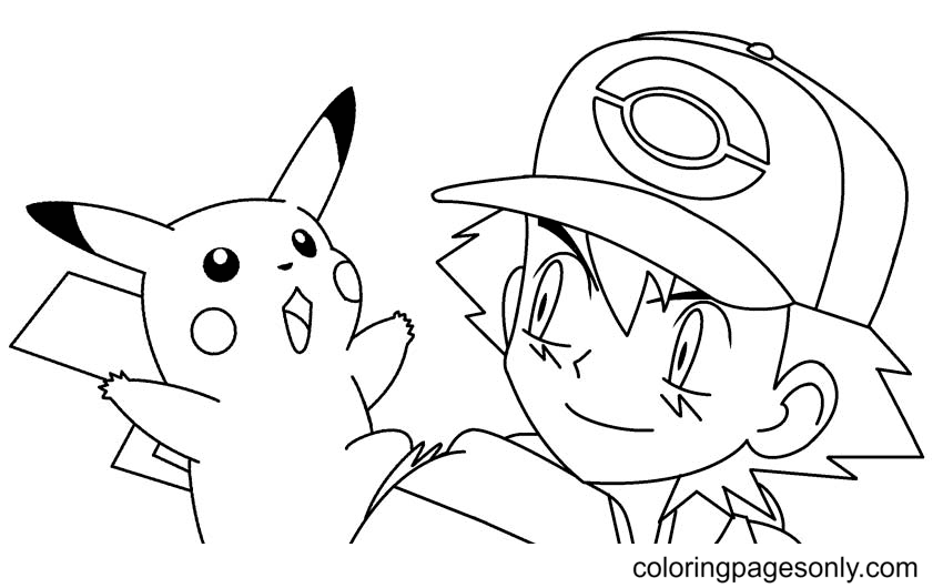 Pikachu Pokemon with Ash Coloring Page
