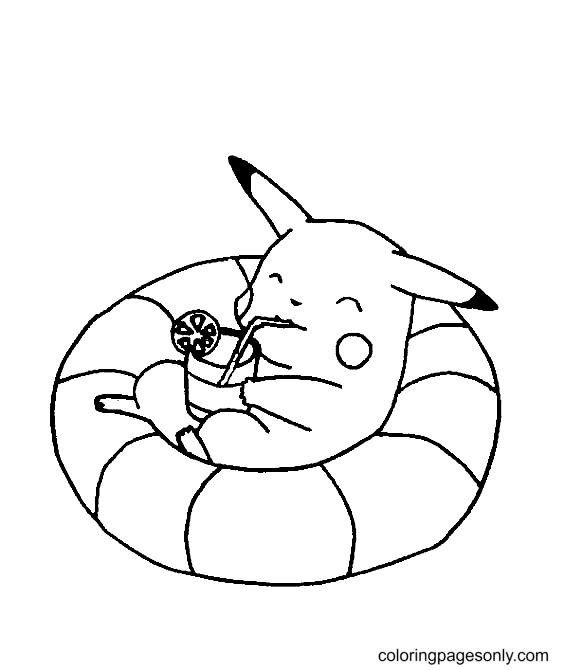 Pikachu Relaxing Coloring Page