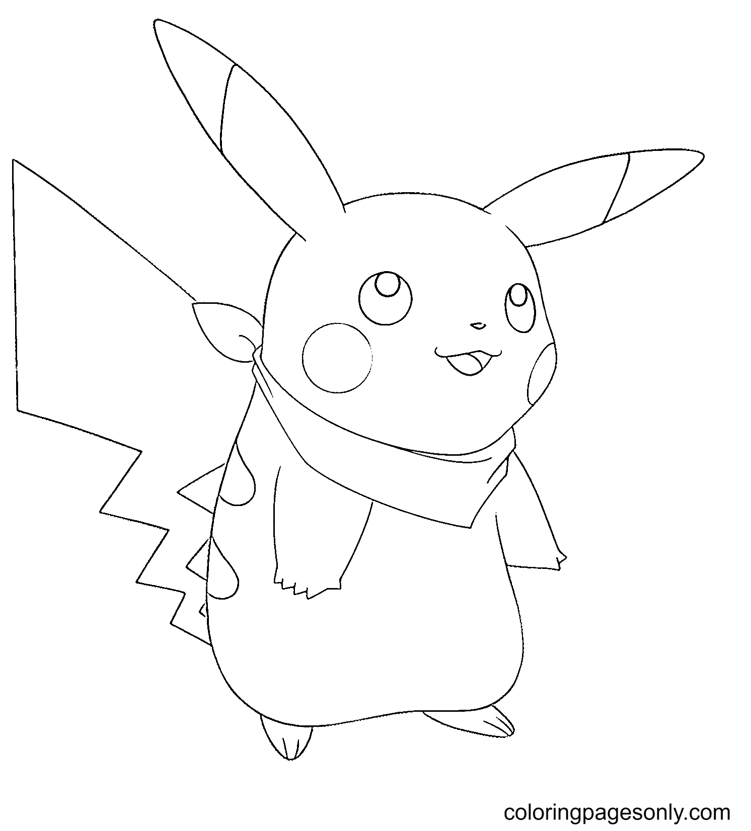 Pikachu Wearing a Scarf Coloring Page