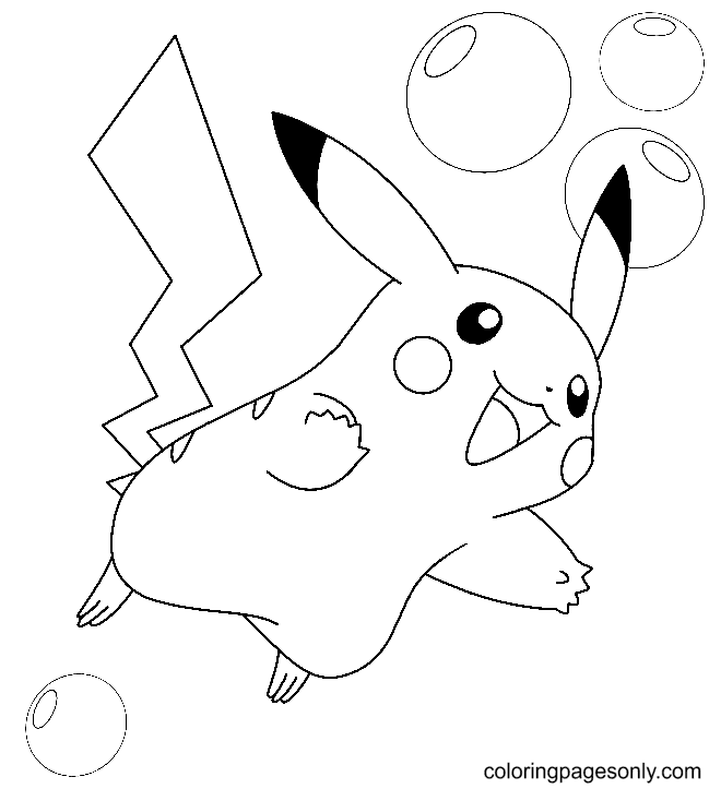 Pikachu with Bubbles Coloring Page