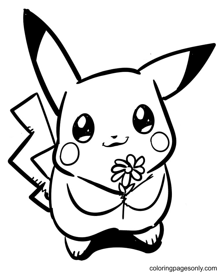 Pikachu with Flower Coloring Page