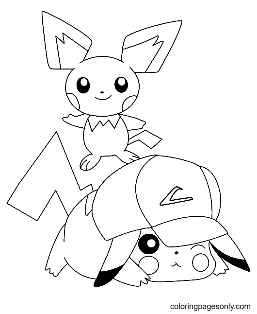 Pikachu with Hat Coloring Page