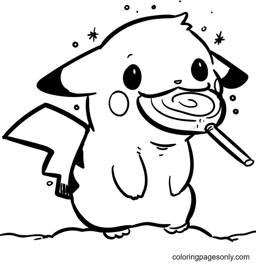 Pikachu with Lollipop Coloring Page