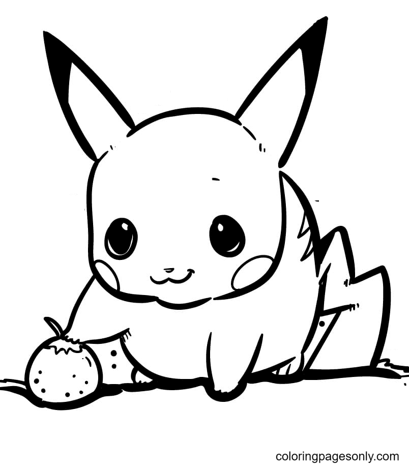 Pikachu with Strawberry Coloring Page