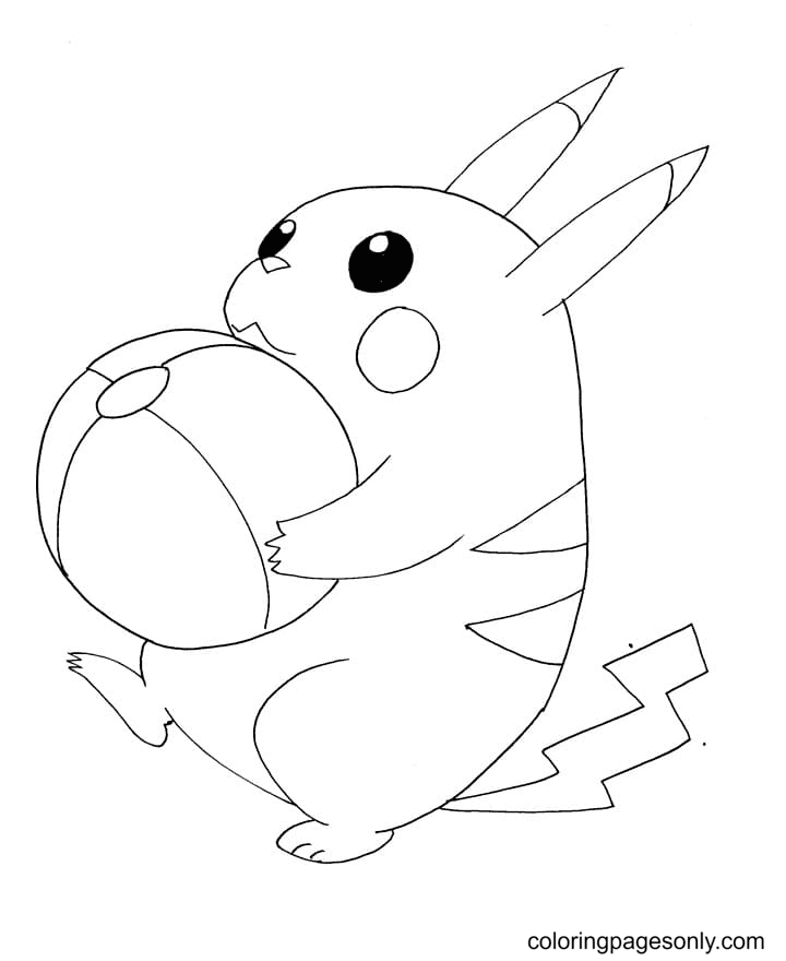 Pikachu with a Ball Coloring Page