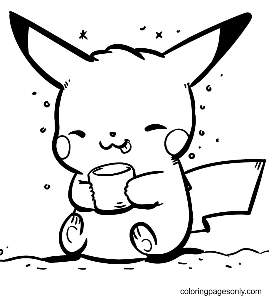 Pikachu with a Cup Coloring Page