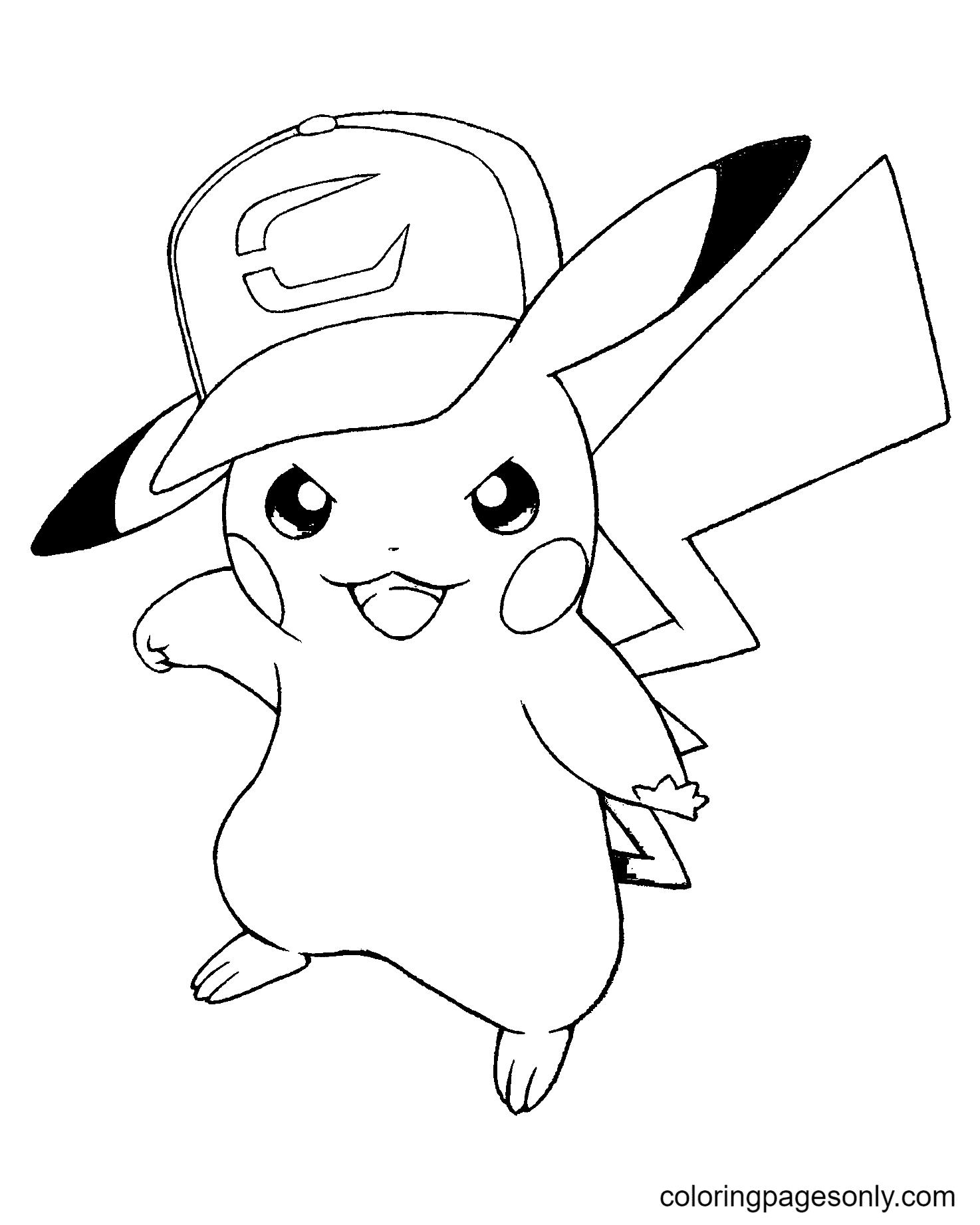 Pokemon Pikachu Wearing A Hat Coloring Page