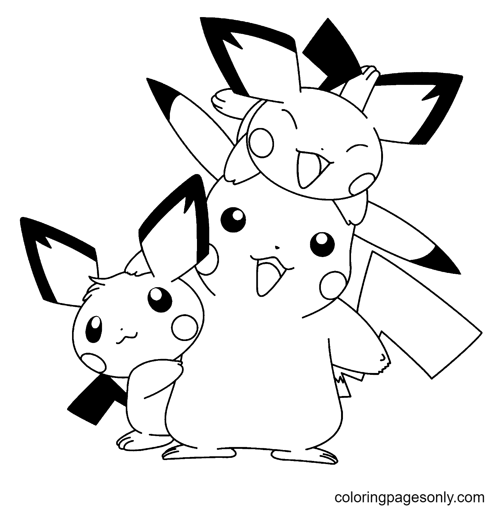 Pokemon Pikachu and Friends Coloring Page