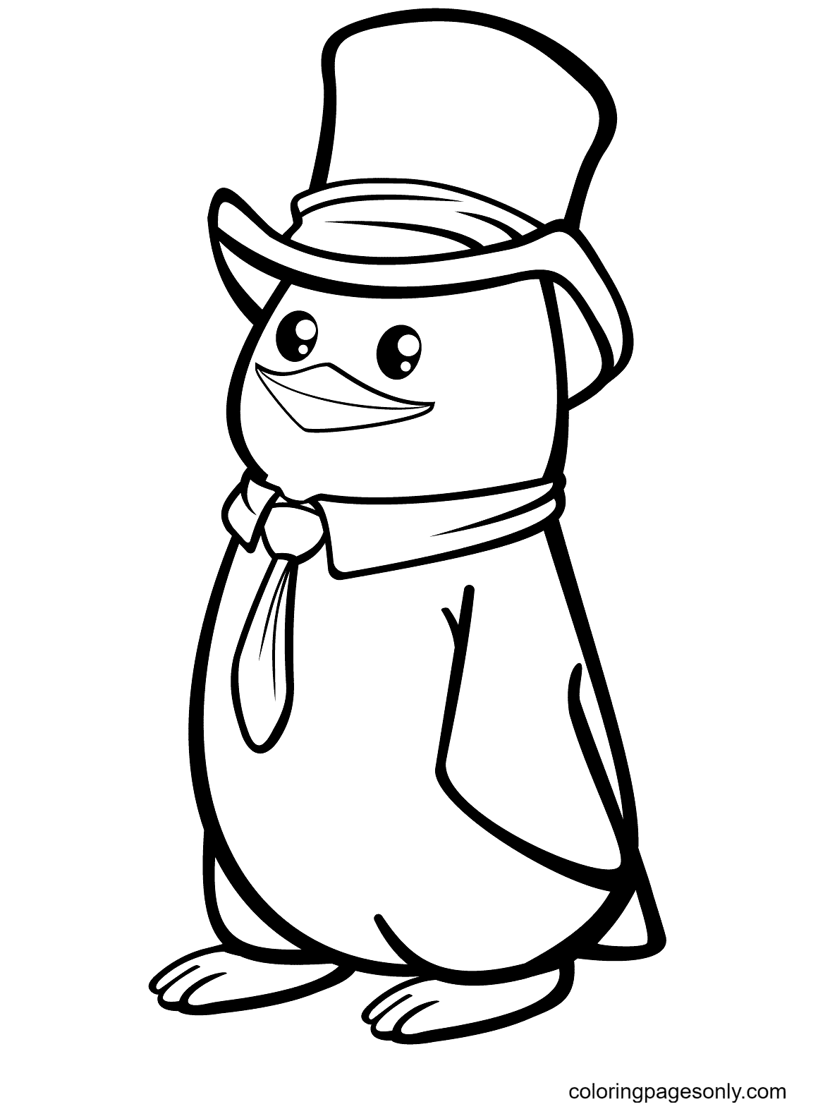 Polar Penguin with a Top Hat Coloring Page