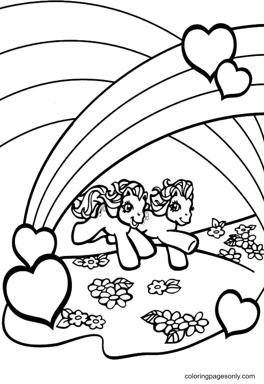 Ponies in Love and Rainbow Coloring Page