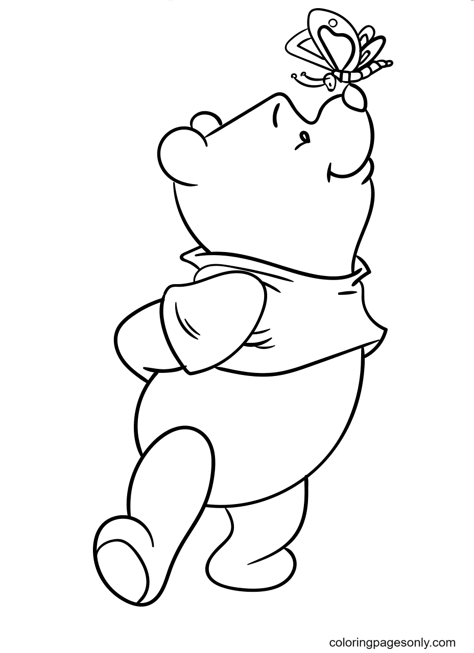Pooh Bear Playing with Butterfly Coloring Page