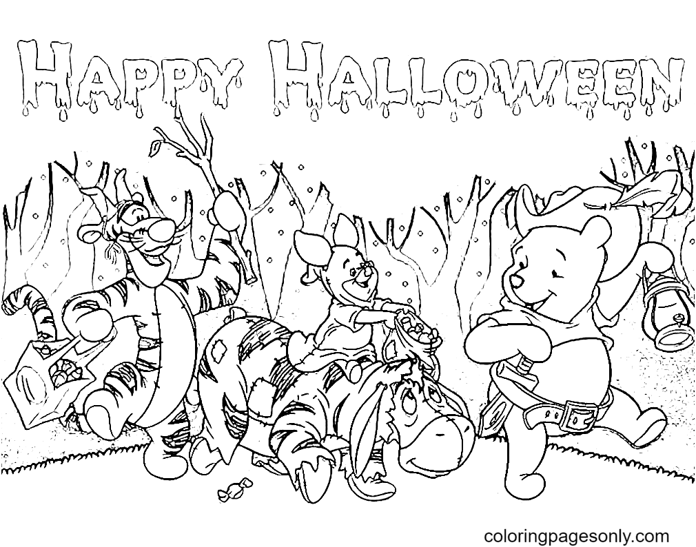 Pooh and Friends on Halloween Coloring Page