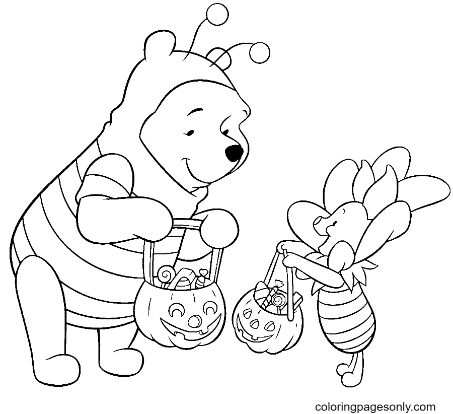 Pooh and Piglet on Halloween Coloring Page