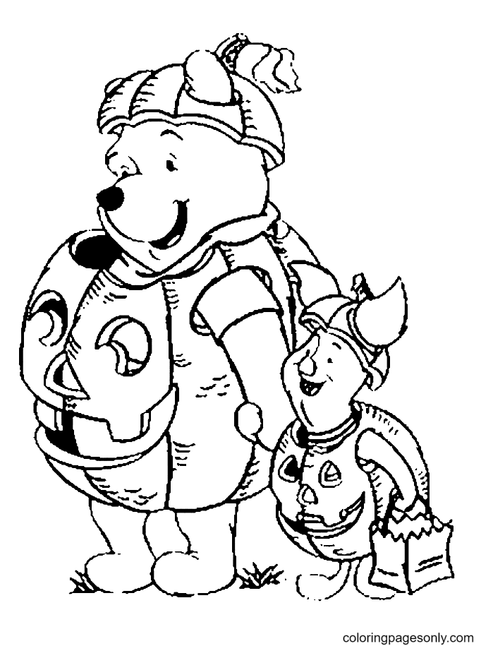 Pooh with Piglet on Halloween Coloring Page