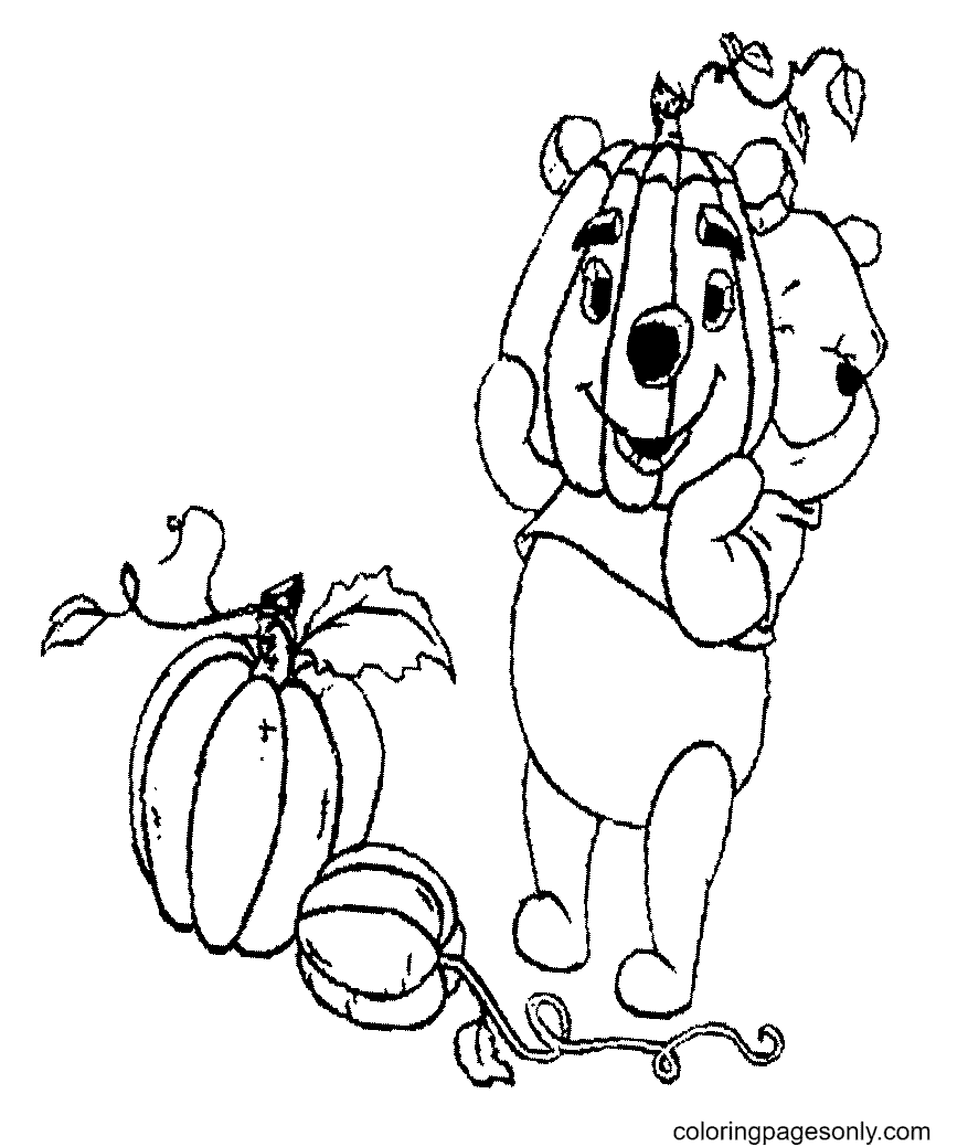 Pooh with Pumpkin Coloring Page