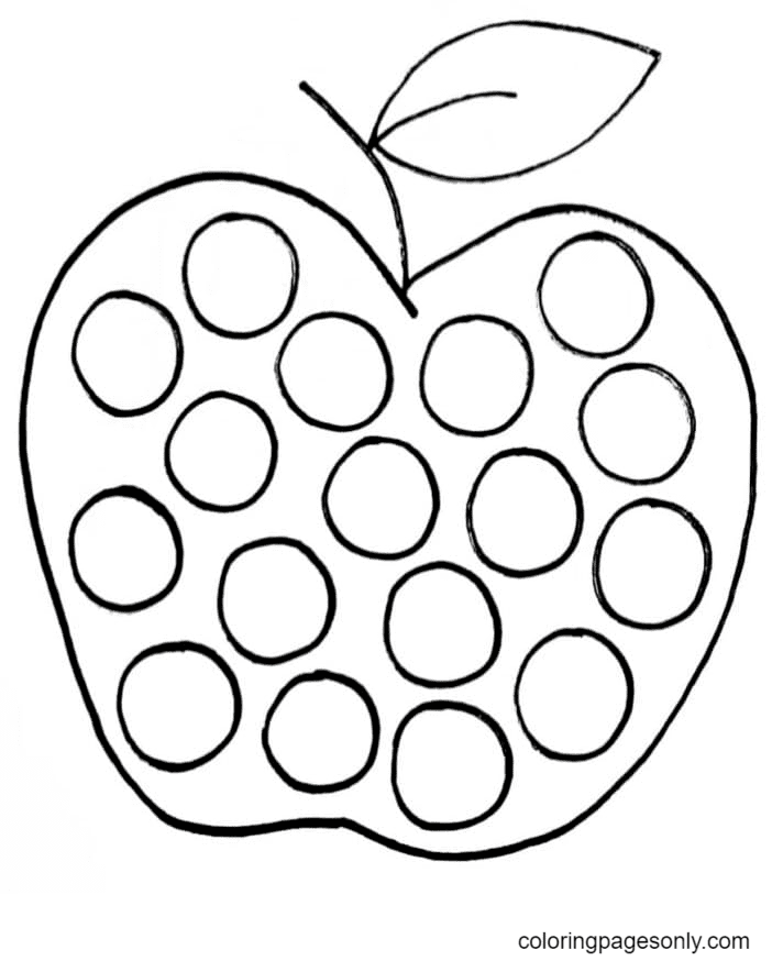 Pop It Apple Coloring Page
