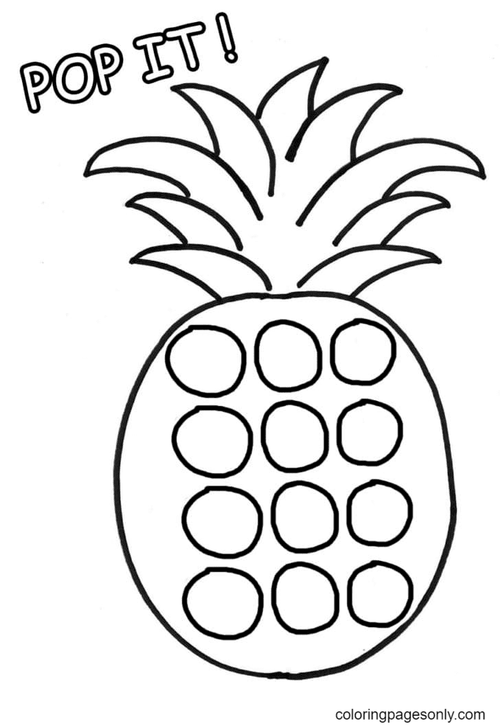 Pop It Pineapple Coloring Page
