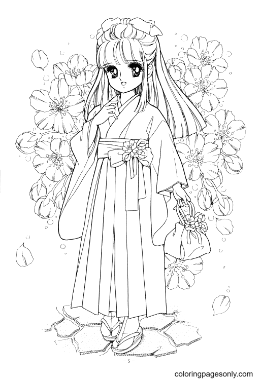 Pretty Anime Girl Coloring Page