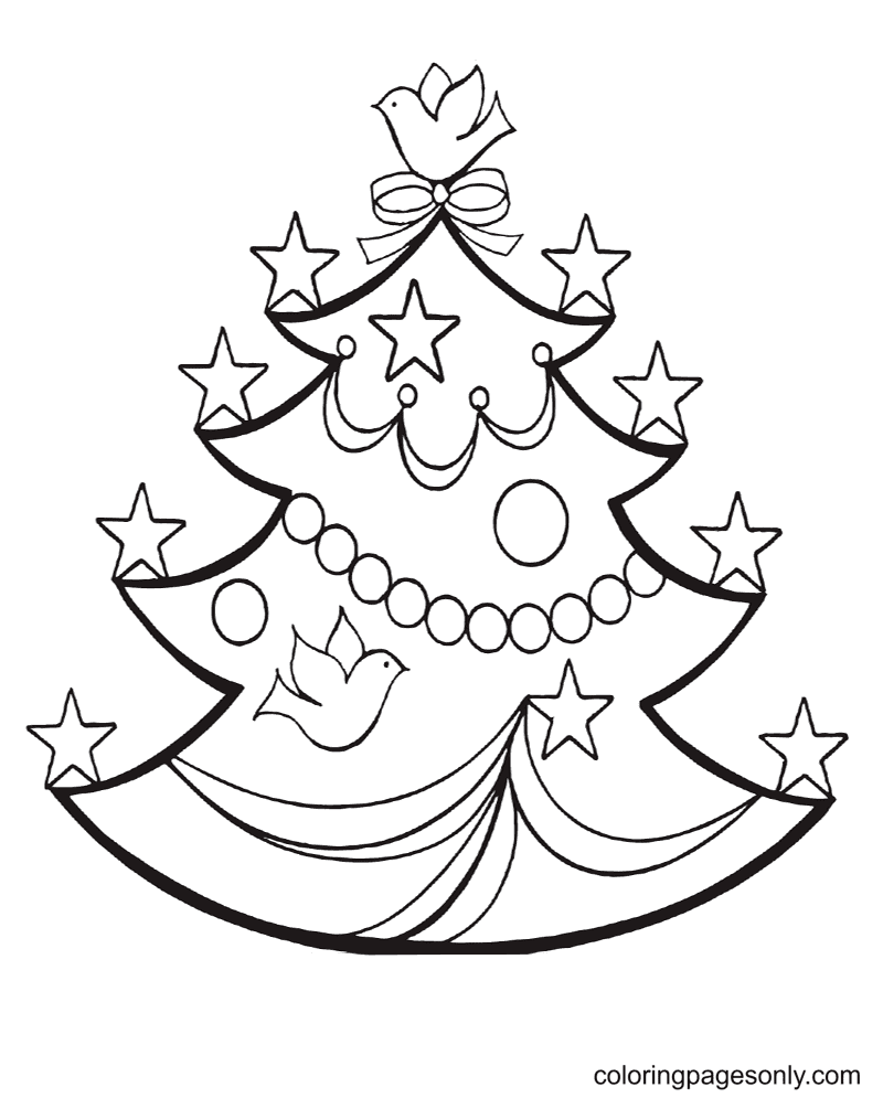 Pretty Christmas Tree with Stars and Doves Coloring Page