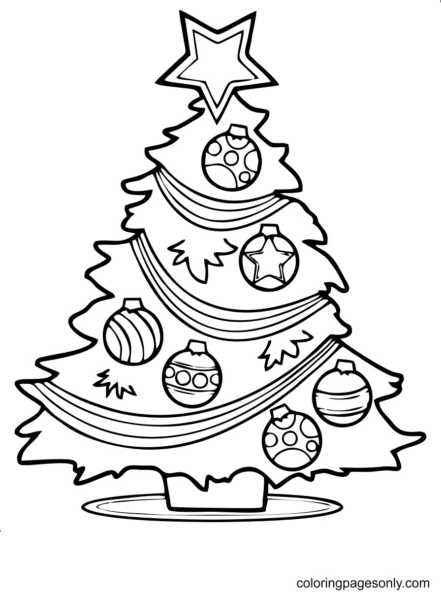 Pretty Christmas Tree Coloring Page