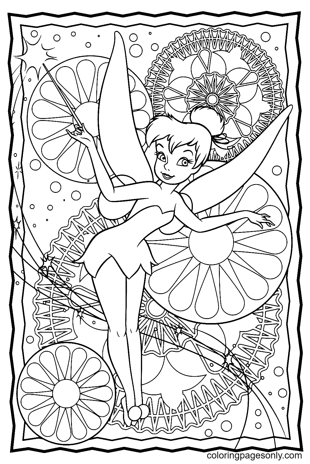 Pretty Fairy Tinkerbell Coloring Page