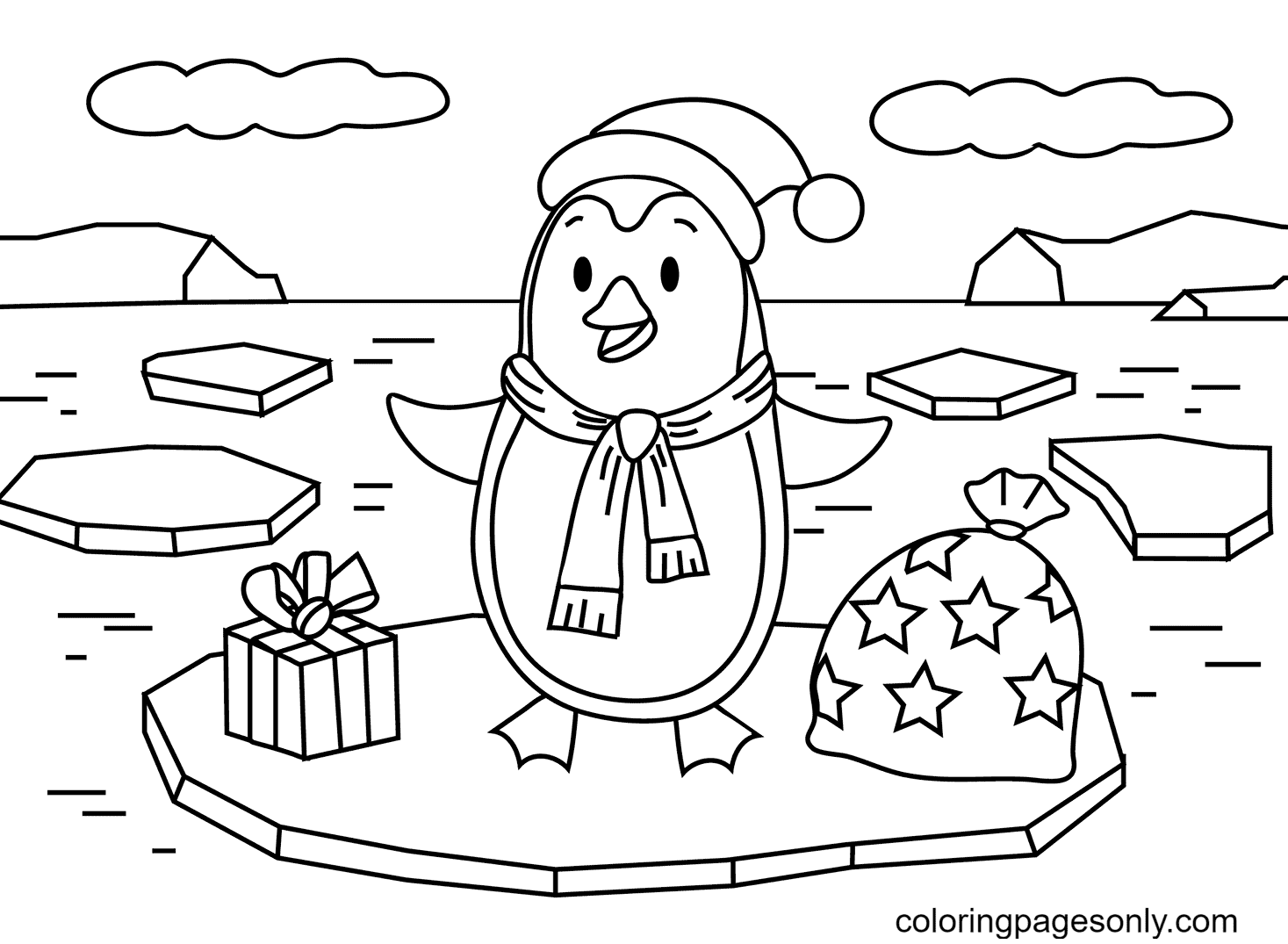 Printable Christmas Penguin Coloring Page