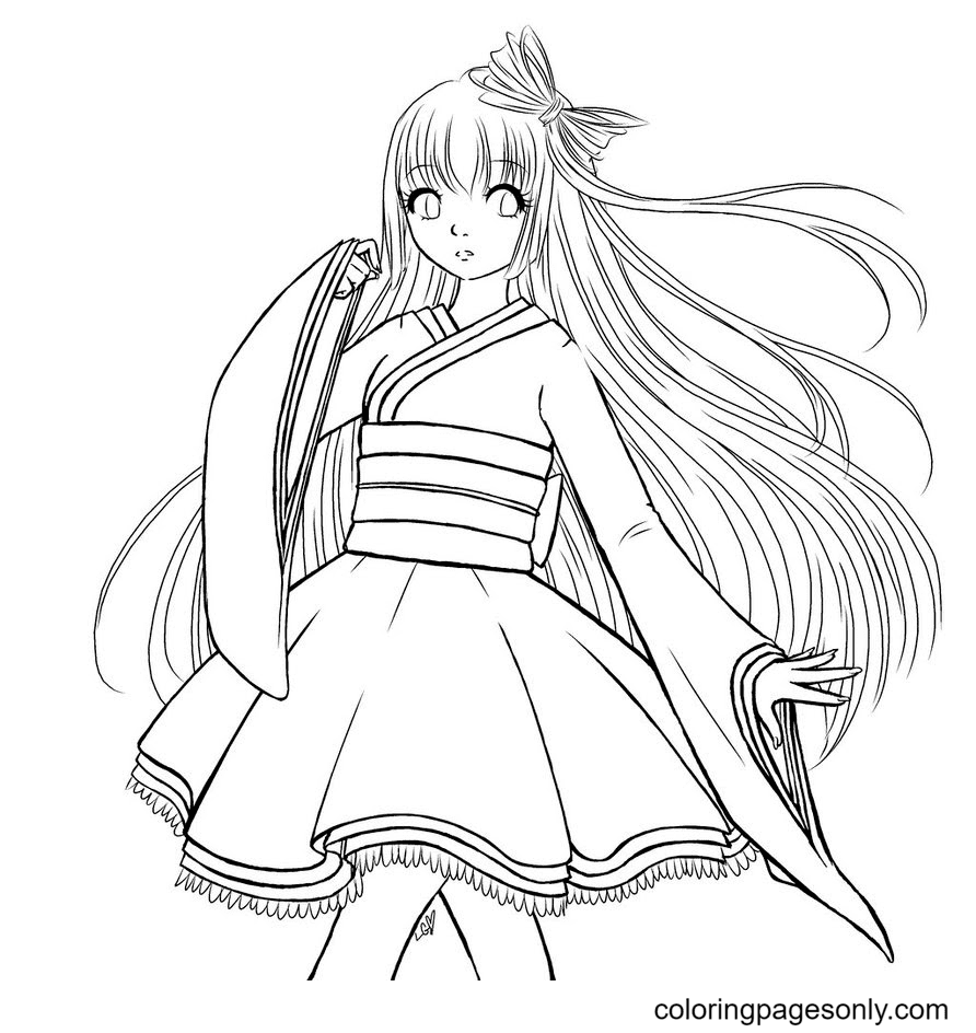 Printable Long Hair Anime Gir Coloring Page