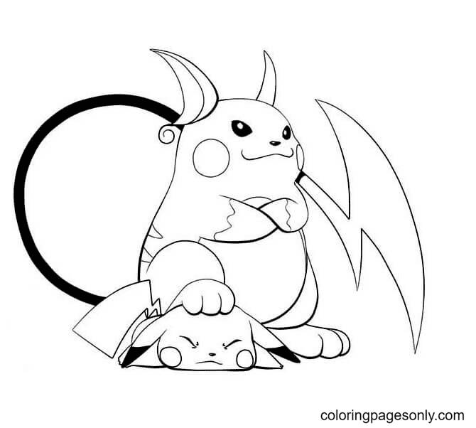 Raichu and Pikachu Coloring Page