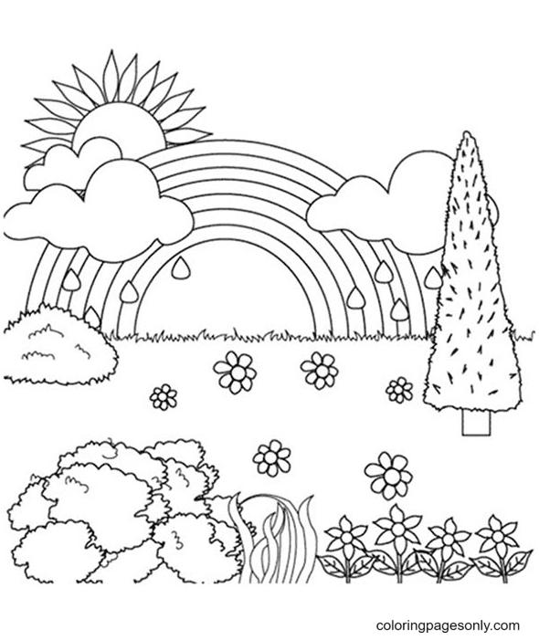Rainbow Dreamland Coloring Page